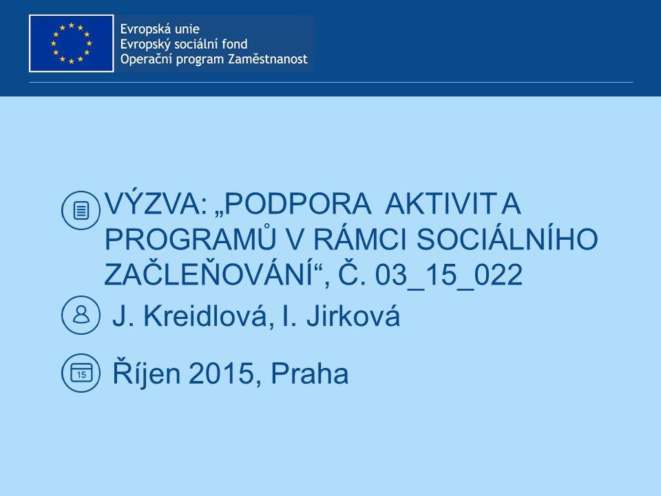 VÝZVA Č.03_15_022 Vyhlášení výzvy: 23. 09. 2015 Ukončení výzvy: 30.