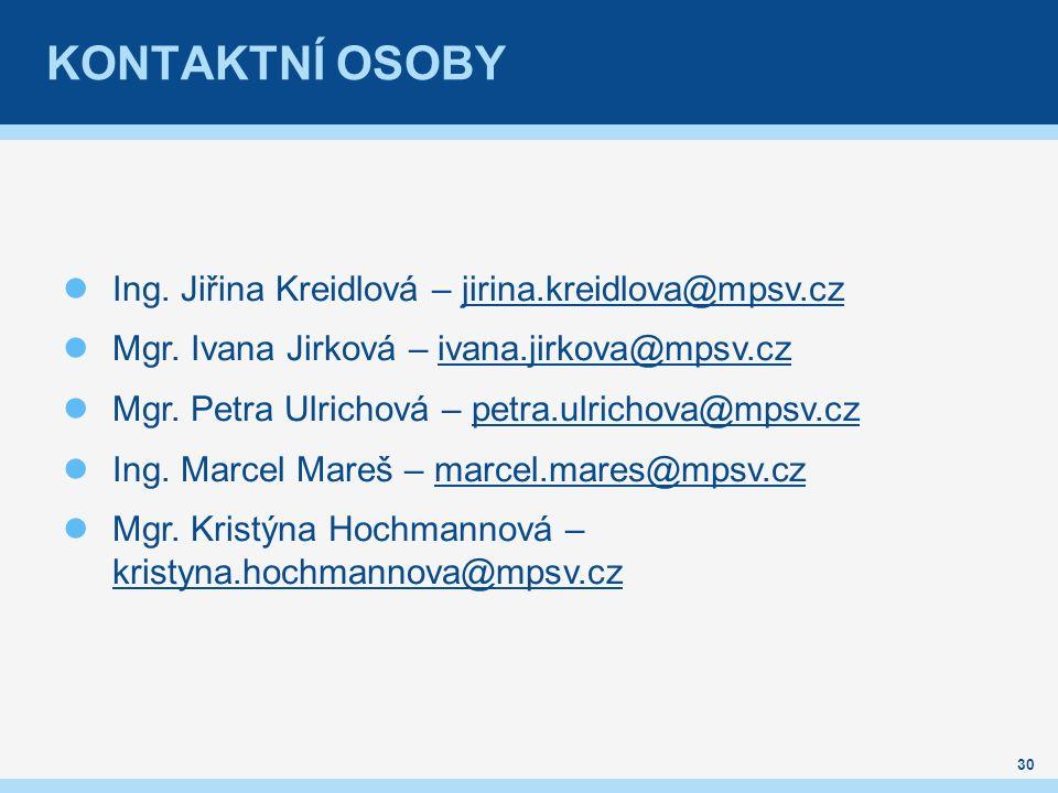 KONTAKTNÍ OSOBY Ing. Jiřina Kreidlová – jirina.kreidlova@mpsv.czjirina.kreidlova@mpsv.cz Mgr.