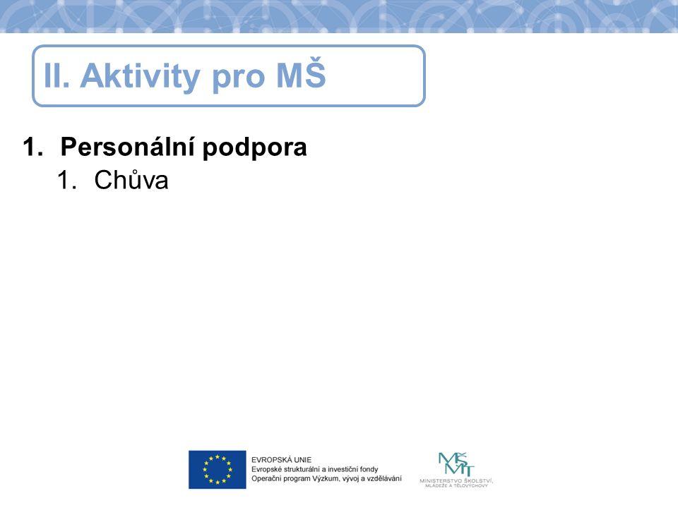 II. Aktivity pro MŠ 1.Personální podpora 1.Chůva