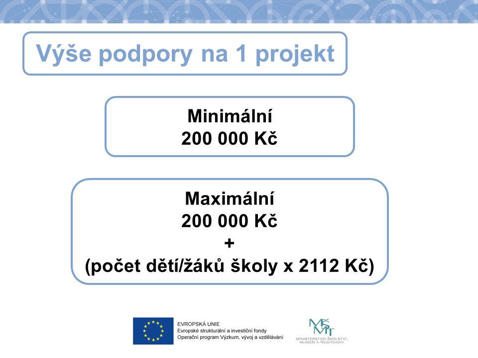 Výše podpory na 1 projekt Minimální 200 000 Kč Maximální 200 000 Kč + (počet dětí/žáků školy x 2112 Kč)