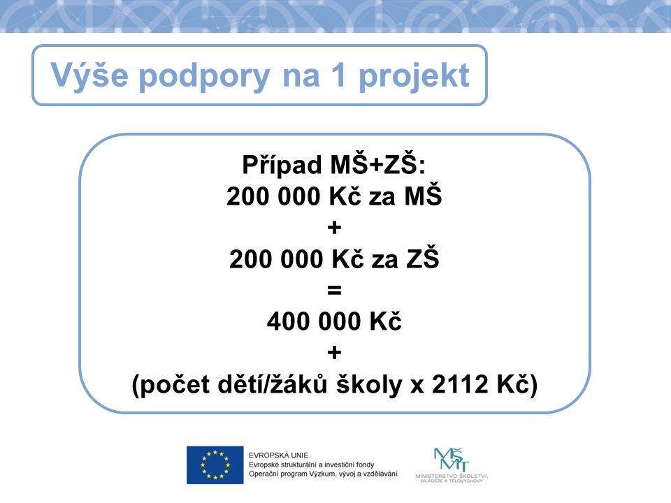 Výše podpory na 1 projekt Případ MŠ+ZŠ: 200 000 Kč za MŠ + 200 000 Kč za ZŠ = 400 000 Kč + (počet dětí/žáků školy x 2112 Kč)