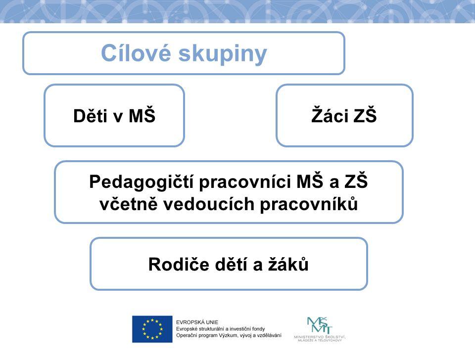 Cílové skupiny Děti v MŠŽáci ZŠ Pedagogičtí pracovníci MŠ a ZŠ včetně vedoucích pracovníků Rodiče dětí a žáků