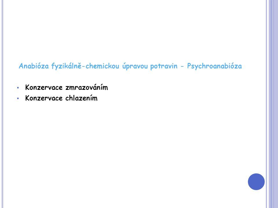 Anabióza fyzikálně-chemickou úpravou potravin - Psychroanabióza  Konzervace zmrazováním  Konzervace chlazením