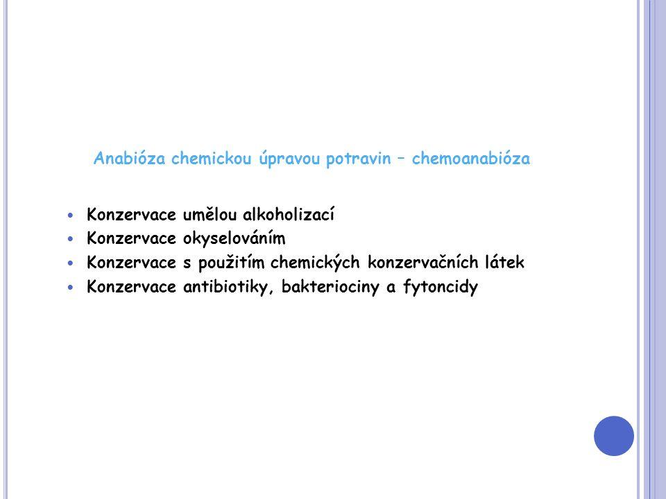 Anabióza chemickou úpravou potravin – chemoanabióza Konzervace umělou alkoholizací Konzervace okyselováním Konzervace s použitím chemických konzervačních látek Konzervace antibiotiky, bakteriociny a fytoncidy