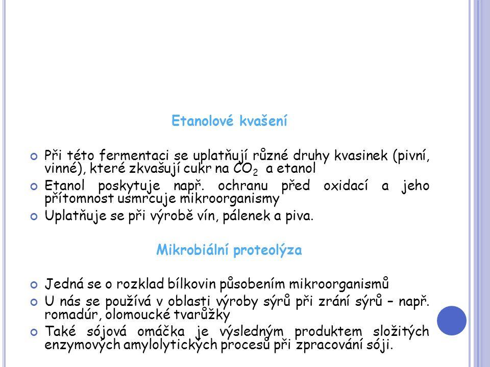 Etanolové kvašení Při této fermentaci se uplatňují různé druhy kvasinek (pivní, vinné), které zkvašují cukr na CO 2 a etanol Etanol poskytuje např.