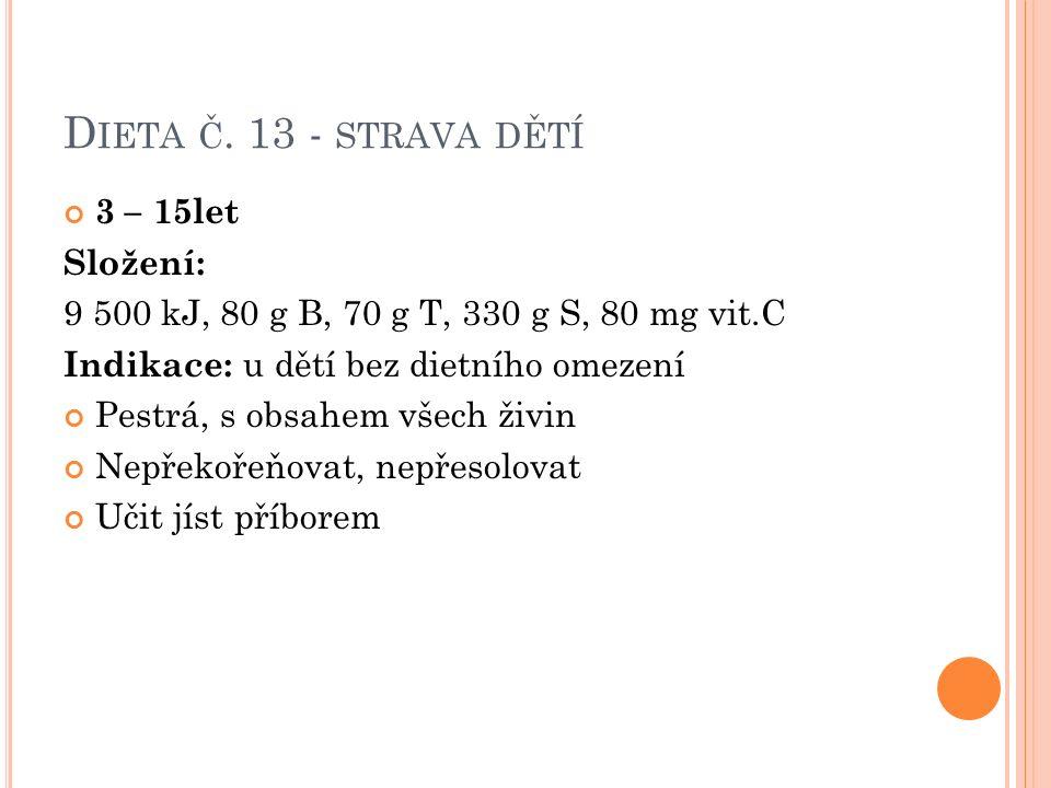 D IETA Č. 13 - STRAVA DĚTÍ 3 – 15let Složení: 9 500 kJ, 80 g B, 70 g T, 330 g S, 80 mg vit.C Indikace: u dětí bez dietního omezení Pestrá, s obsahem v