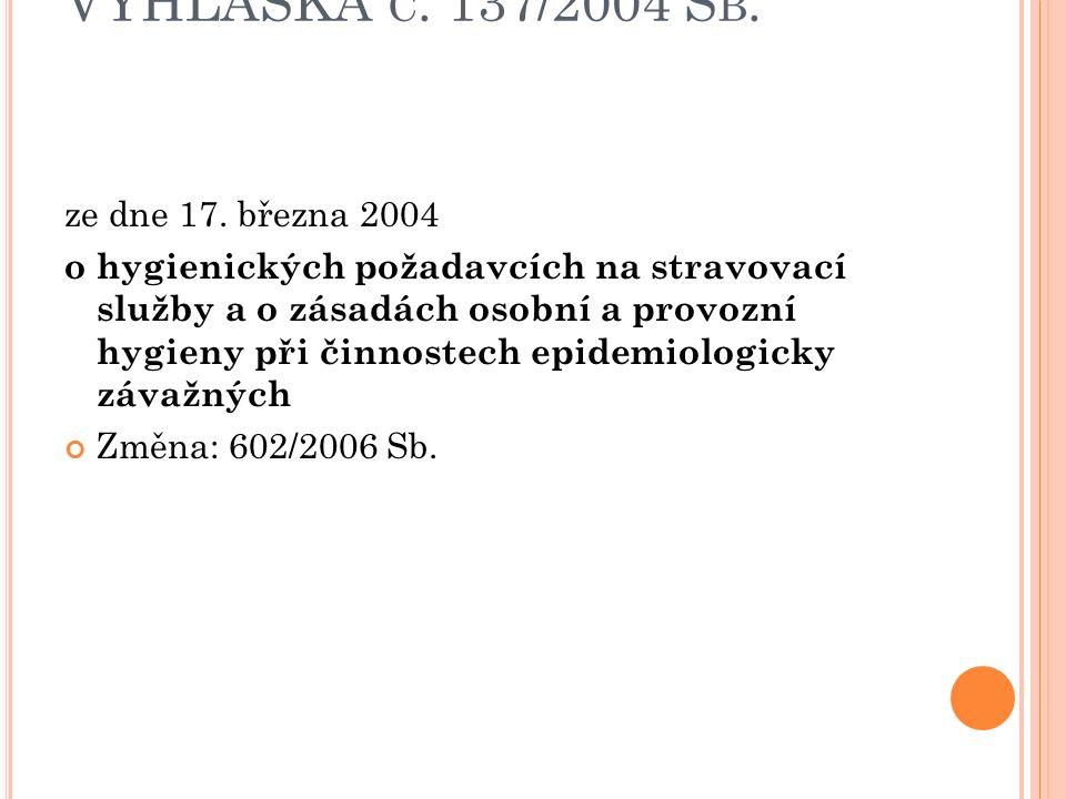 VYHLÁŠKA Č. 137/2004 S B. ze dne 17. března 2004 o hygienických požadavcích na stravovací služby a o zásadách osobní a provozní hygieny při činnostech