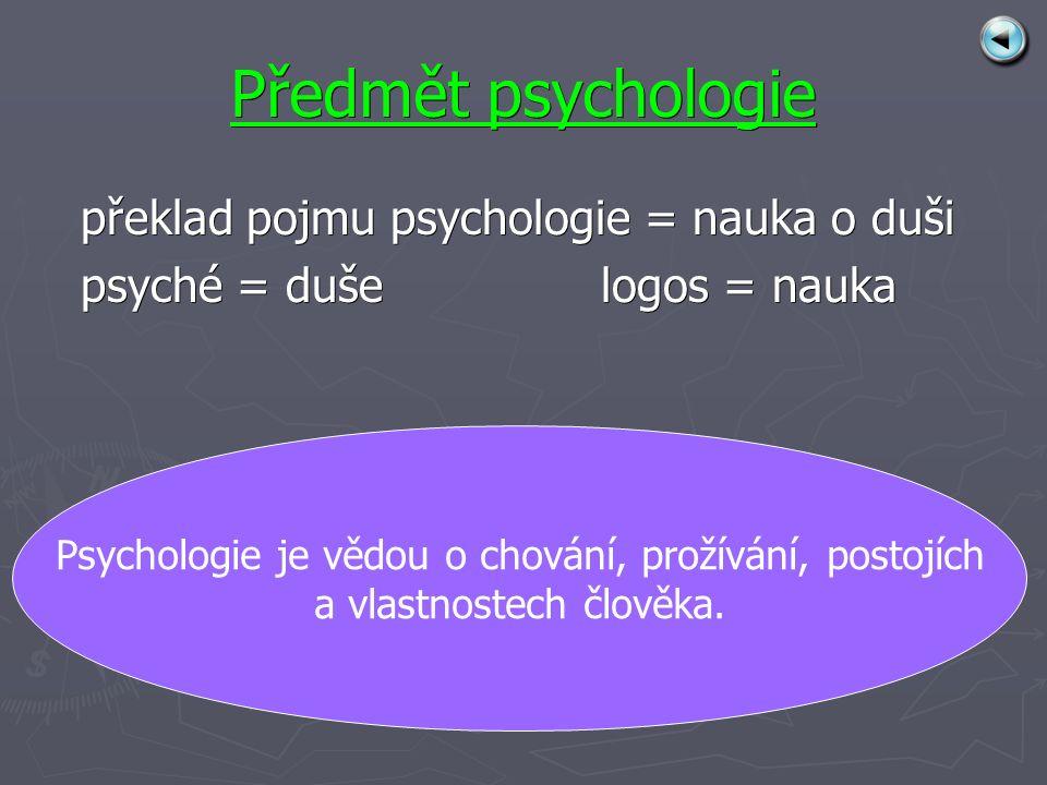 Předmět psychologie překlad pojmu psychologie = nauka o duši psyché = duše logos = nauka Psychologie je vědou o chování, prožívání, postojích a vlastnostech člověka.