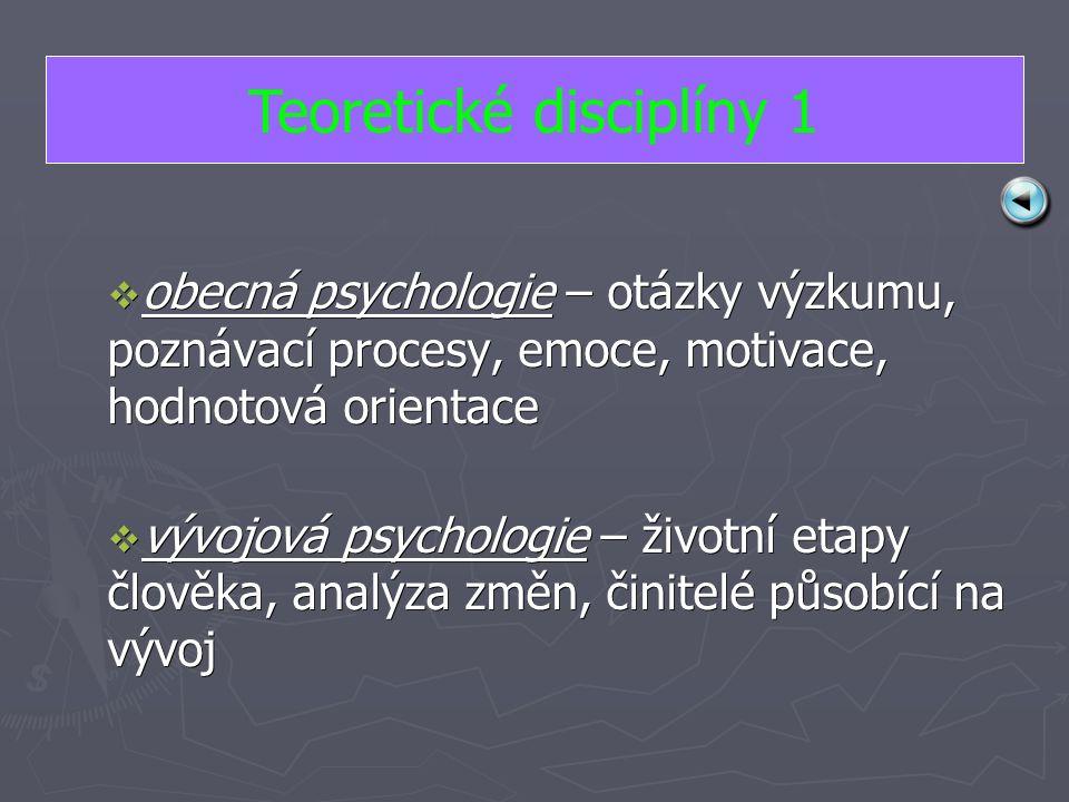 oooobecná psychologie – otázky výzkumu, poznávací procesy, emoce, motivace, hodnotová orientace vvvvývojová psychologie – životní etapy člověka, analýza změn, činitelé působící na vývoj Teoretické disciplíny 1