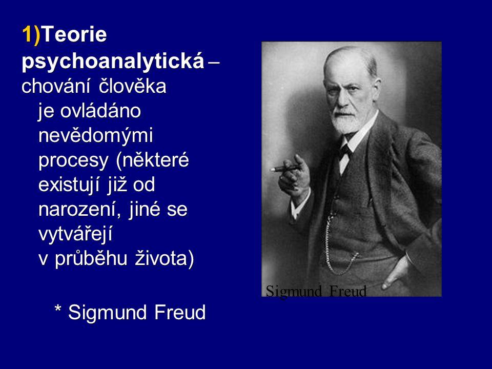  Teorie psychoanalytická – chování člověka je ovládáno nevědomými procesy (některé existují již od narození, jiné se vytvářejí v průběhu života) * S