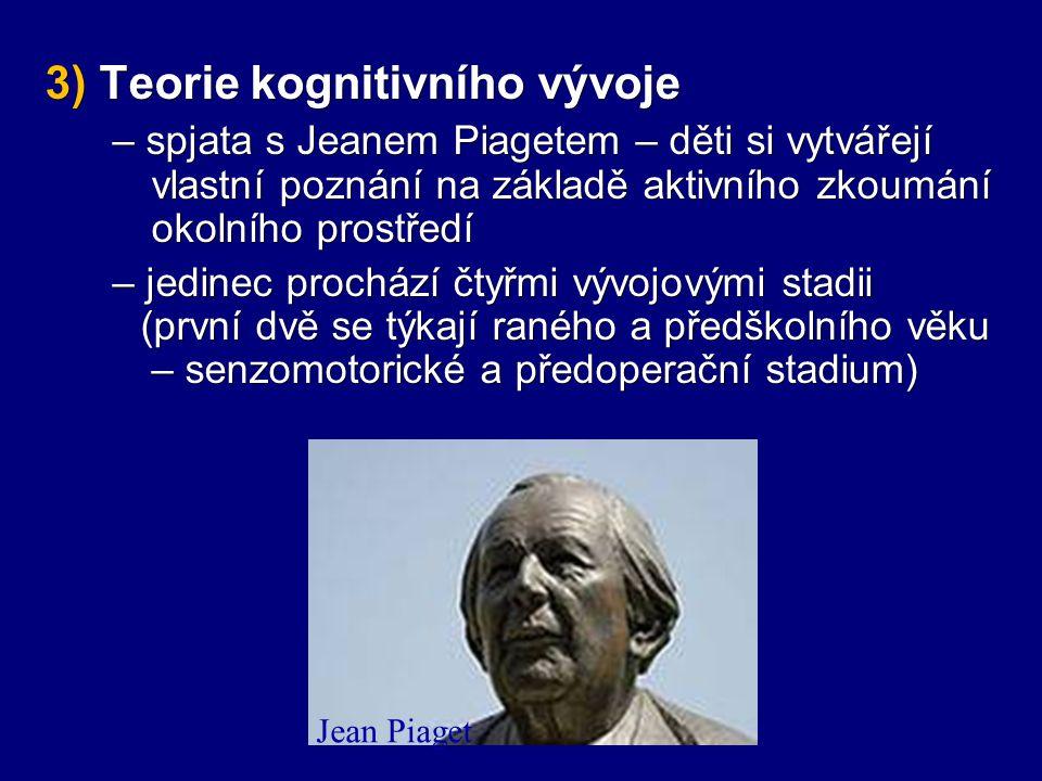 3) Teorie kognitivního vývoje – spjata s Jeanem Piagetem – děti si vytvářejí vlastní poznání na základě aktivního zkoumání okolního prostředí – spjata