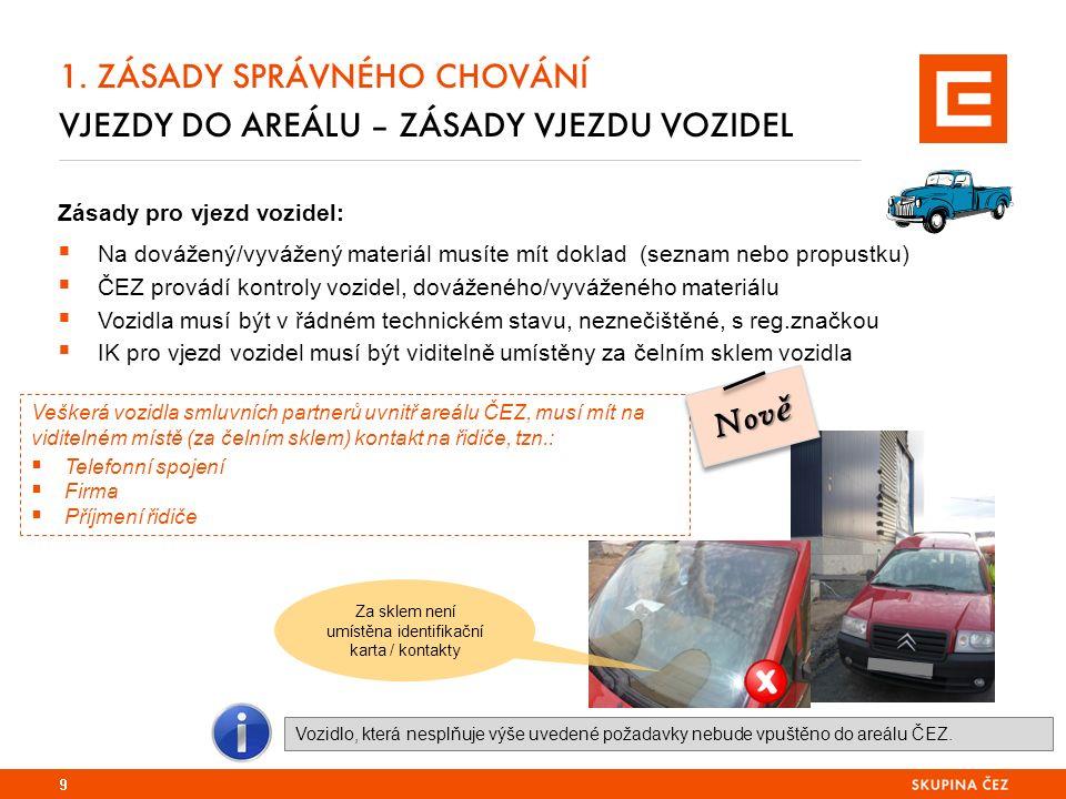 1. ZÁSADY SPRÁVNÉHO CHOVÁNÍ VJEZDY DO AREÁLU – ZÁSADY VJEZDU VOZIDEL 9 Zásady pro vjezd vozidel:  Na dovážený/vyvážený materiál musíte mít doklad (se