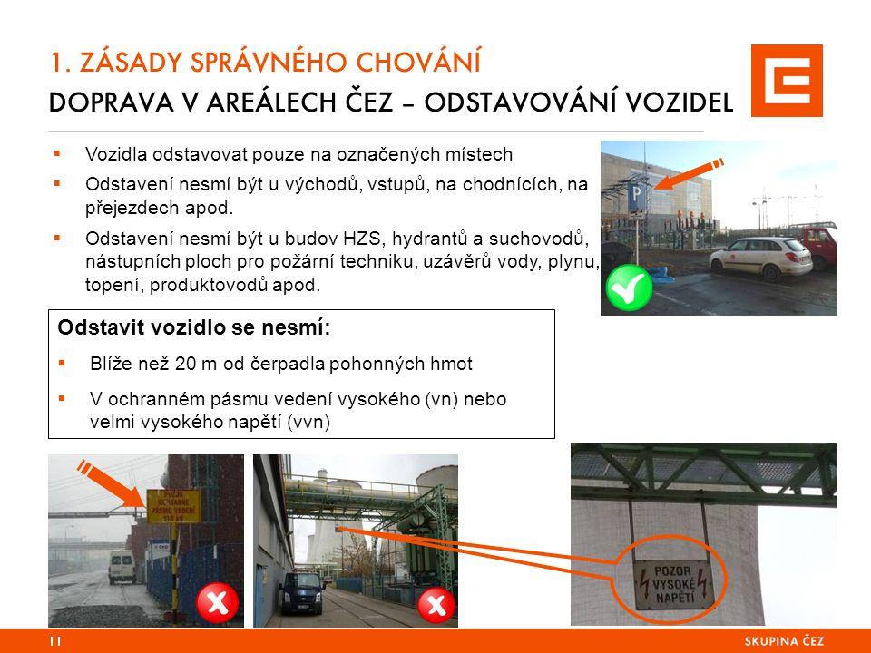 1. ZÁSADY SPRÁVNÉHO CHOVÁNÍ DOPRAVA V AREÁLECH ČEZ – ODSTAVOVÁNÍ VOZIDEL 11  Vozidla odstavovat pouze na označených místech  Odstavení nesmí být u v