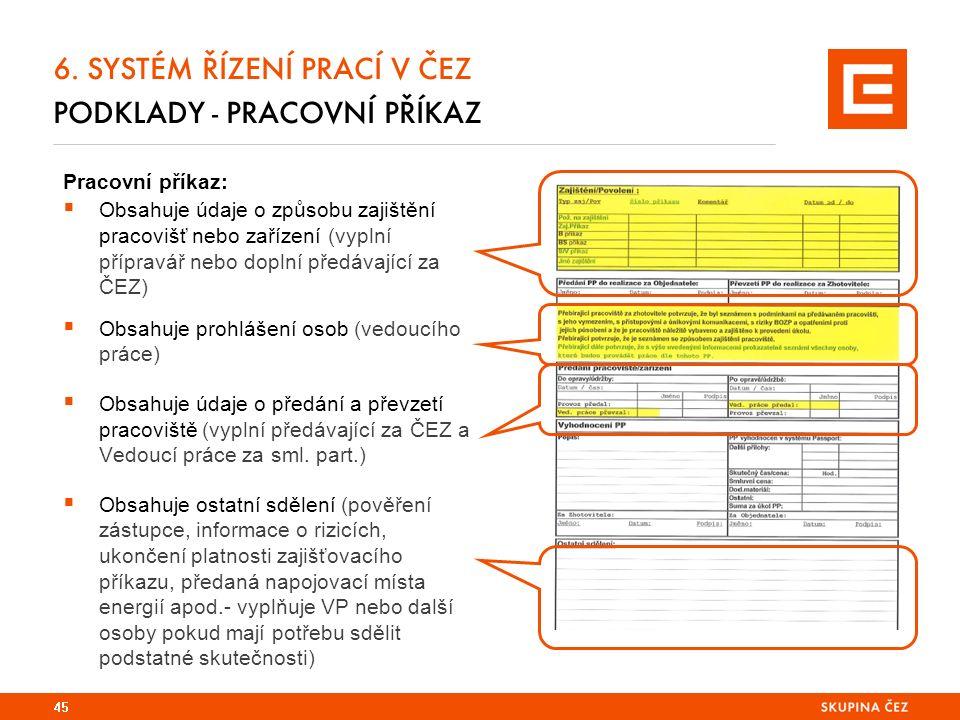 6. SYSTÉM ŘÍZENÍ PRACÍ V ČEZ PODKLADY - PRACOVNÍ PŘÍKAZ Pracovní příkaz:  Obsahuje údaje o způsobu zajištění pracovišť nebo zařízení (vyplní přípravá