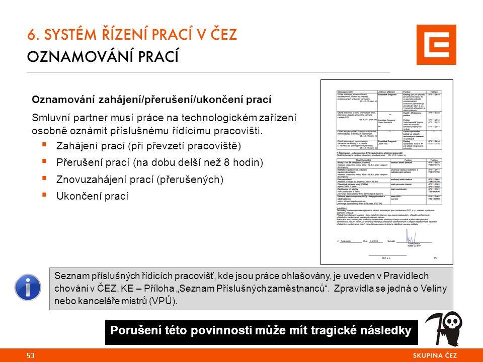 6. SYSTÉM ŘÍZENÍ PRACÍ V ČEZ OZNAMOVÁNÍ PRACÍ Oznamování zahájení/přerušení/ukončení prací Smluvní partner musí práce na technologickém zařízení osobn