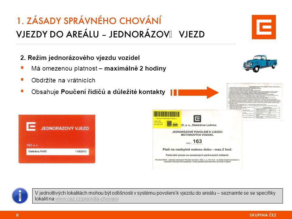 2. Režim jednorázového vjezdu vozidel  Má omezenou platnost – maximálně 2 hodiny  Obdržíte na vrátnicích  Obsahuje Poučení řidičů a důležité kontak