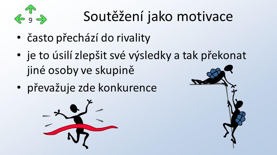 často přechází do rivality je to úsilí zlepšit své výsledky a tak překonat jiné osoby ve skupině převažuje zde konkurence Soutěžení jako motivace 9