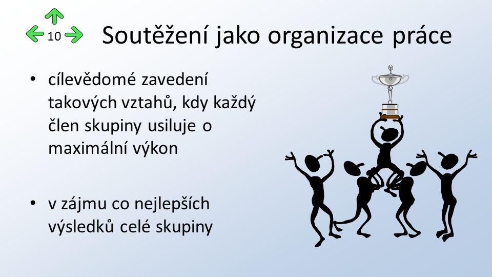 Soutěžení jako organizace práce cílevědomé zavedení takových vztahů, kdy každý člen skupiny usiluje o maximální výkon v zájmu co nejlepších výsledků celé skupiny 10