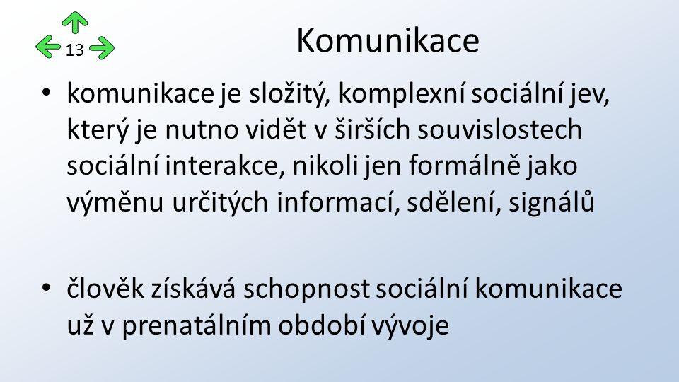komunikace je složitý, komplexní sociální jev, který je nutno vidět v širších souvislostech sociální interakce, nikoli jen formálně jako výměnu určitých informací, sdělení, signálů člověk získává schopnost sociální komunikace už v prenatálním období vývoje Komunikace 13