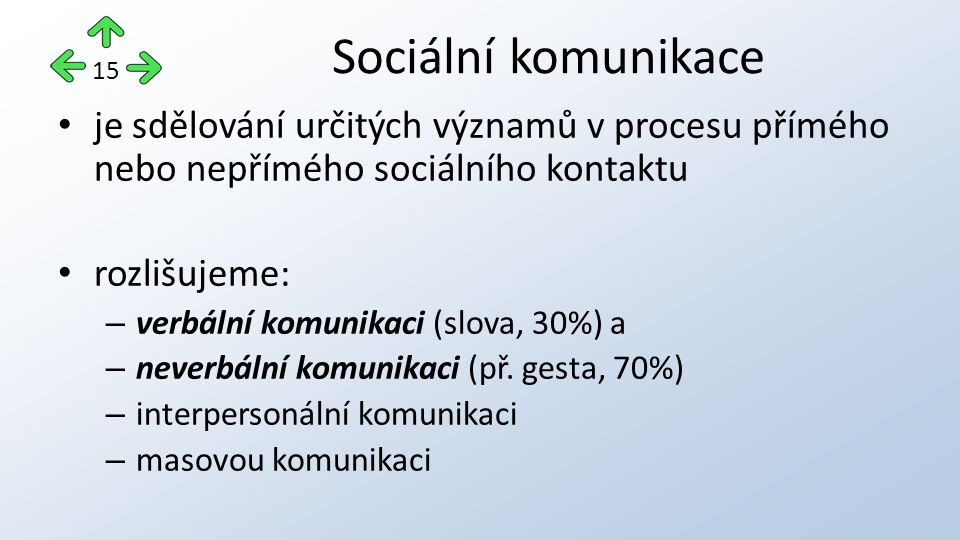 je sdělování určitých významů v procesu přímého nebo nepřímého sociálního kontaktu rozlišujeme: – verbální komunikaci (slova, 30%) a – neverbální komunikaci (př.