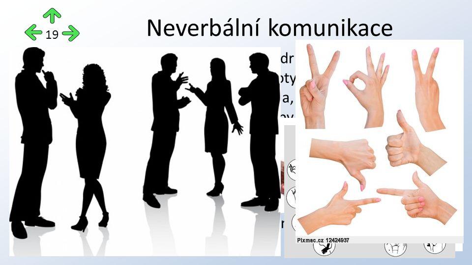 """proxemika (vzdálenost jednoho od druhého) haptika (bezprostřední kontakt – dotyk) posturika (celkový fyzický postoj těla, držení těla) kinezika (""""řeč těla , bezděčné pohyby rukou, nohou, hlavy, sebedotýkání) gestika (kulturně stanovené pohyby a polohy) mimika (výrazy v obličeji - 6 univerzálních emocí – strach, hněv, smutek, štěstí, překvapení, znechucení), pohledy očí (""""řeč očí ), paralingvistika (akustický projev, tón hlasu, rychlost mluvení) Neverbální komunikace 19"""