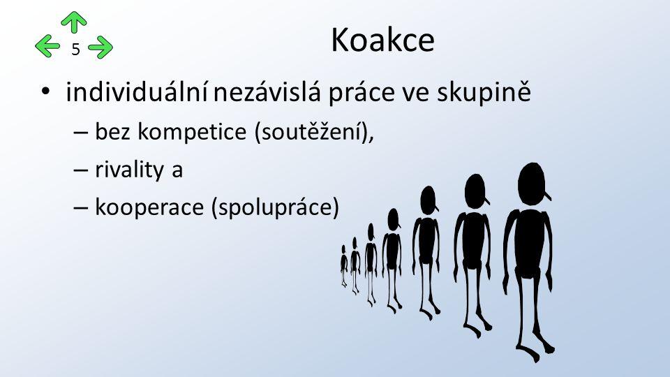 individuální nezávislá práce ve skupině – bez kompetice (soutěžení), – rivality a – kooperace (spolupráce) Koakce 5