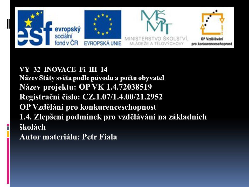 VY_32_INOVACE_Fi_III_14 Název Státy světa podle původu a počtu obyvatel Název projektu: OP VK 1.4.72038519 Registrační číslo: CZ.1.07/1.4.00/21.2952 OP Vzdělání pro konkurenceschopnost 1.4.