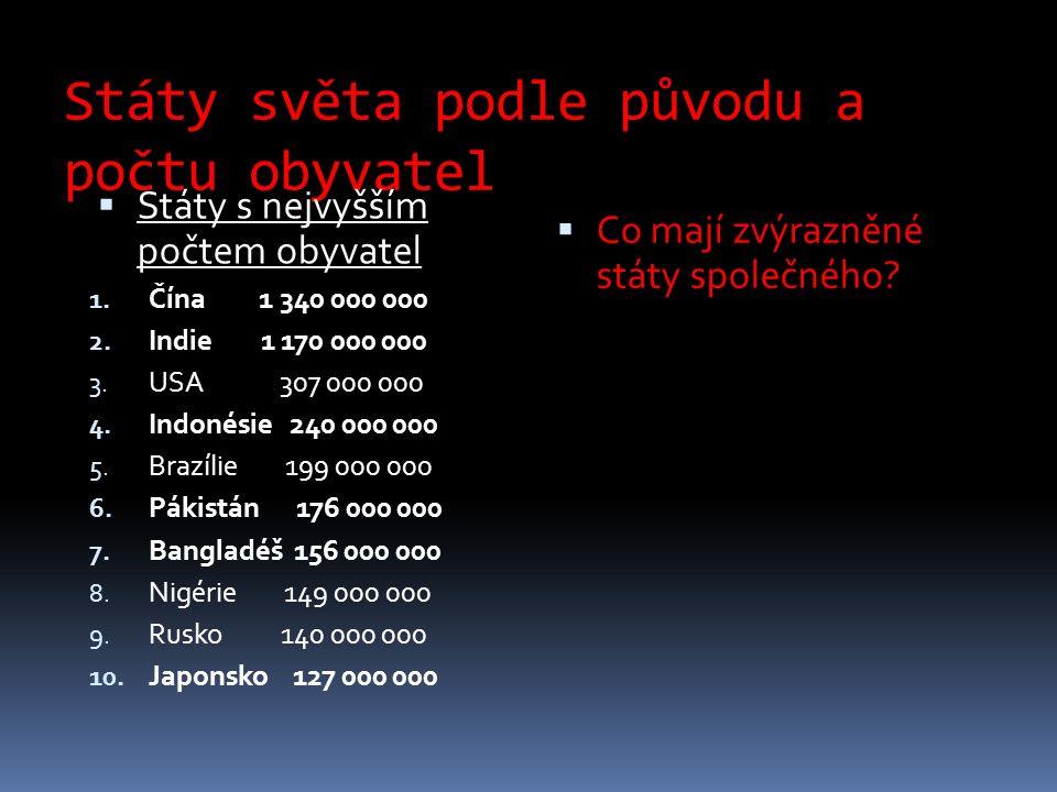 Státy světa podle původu a počtu obyvatel  Státy s nejvyšším počtem obyvatel 1.