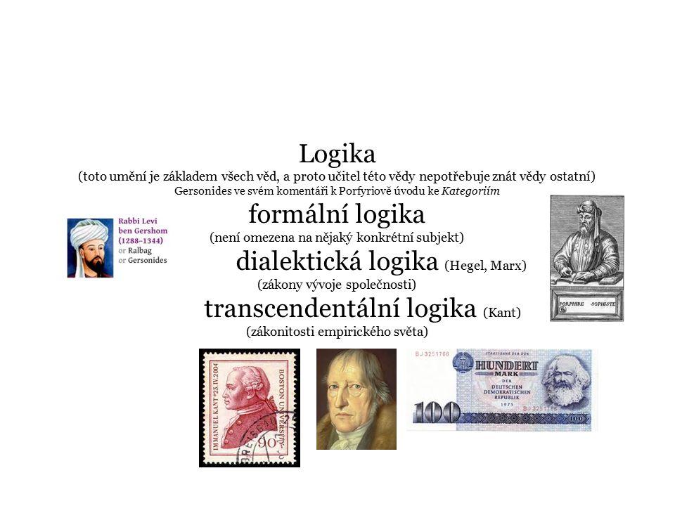 Logika (toto umění je základem všech věd, a proto učitel této vědy nepotřebuje znát vědy ostatní) Gersonides ve svém komentáři k Porfyriově úvodu ke Kategoriím formální logika (není omezena na nějaký konkrétní subjekt) dialektická logika (Hegel, Marx) (zákony vývoje společnosti) transcendentální logika (Kant) (zákonitosti empirického světa)