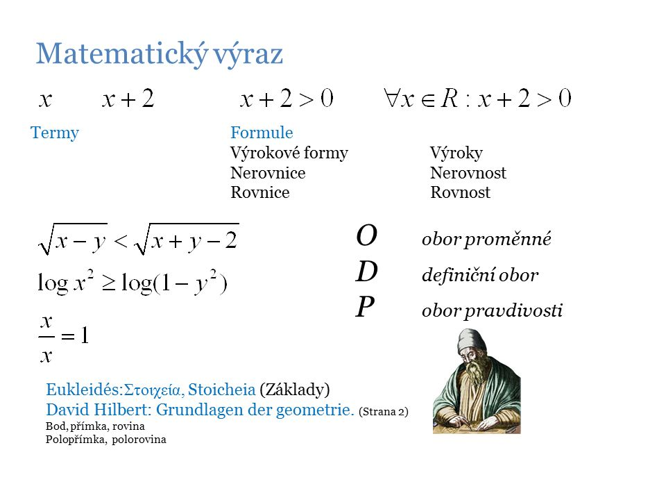 Matematický výraz Termy Formule Výrokové formyVýroky NerovniceNerovnost RovniceRovnost O obor proměnné D definiční obor P obor pravdivosti Eukleidés: Στοιχεία, Stoicheia (Základy) David Hilbert: Grundlagen der geometrie.