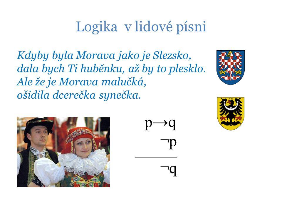 Logika v lidové písni Kdyby byla Morava jako je Slezsko, dala bych Ti huběnku, až by to plesklo.