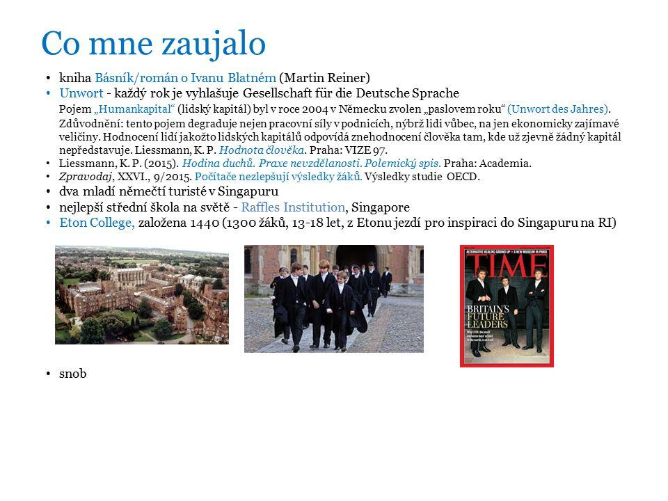 """Co mne zaujalo kniha Básník/román o Ivanu Blatném (Martin Reiner) Unwort - každý rok je vyhlašuje Gesellschaft für die Deutsche Sprache Pojem """"Humankapital (lidský kapitál) byl v roce 2004 v Německu zvolen """"paslovem roku (Unwort des Jahres)."""