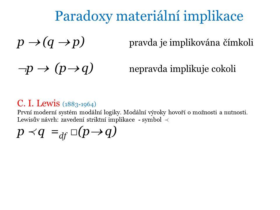 p  (q  p) pravda je implikována čímkoli  p  (p  q) nepravda implikuje cokoli C.