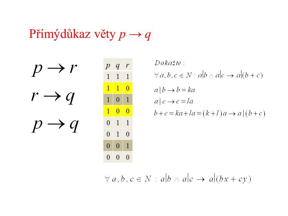 Přímýdůkaz věty p → q pqr 111 110 101 100 011 010 001 000