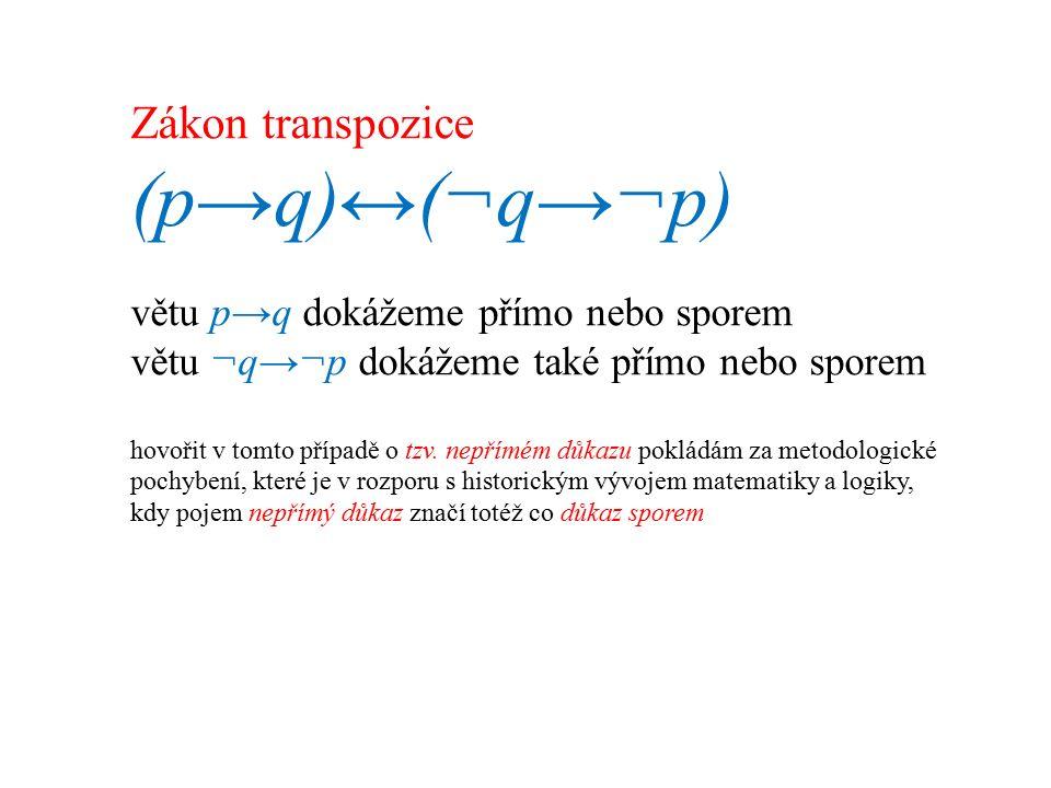 Zákon transpozice (p→q)↔(¬q→¬p) větu p→q dokážeme přímo nebo sporem větu ¬q→¬p dokážeme také přímo nebo sporem hovořit v tomto případě o tzv.