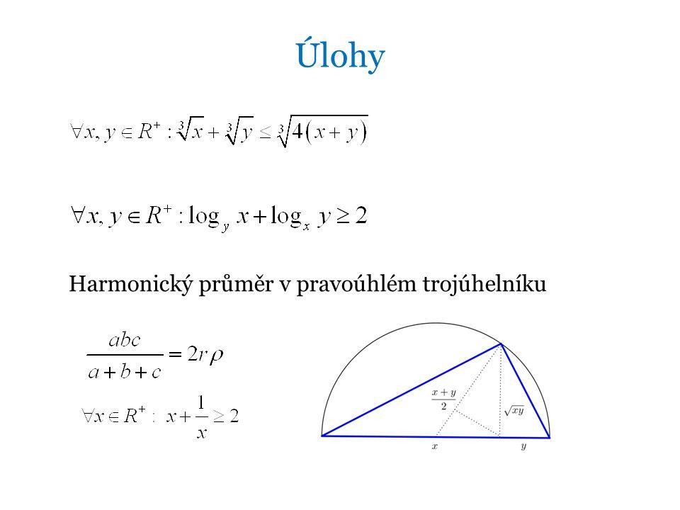 Úlohy Harmonický průměr v pravoúhlém trojúhelníku