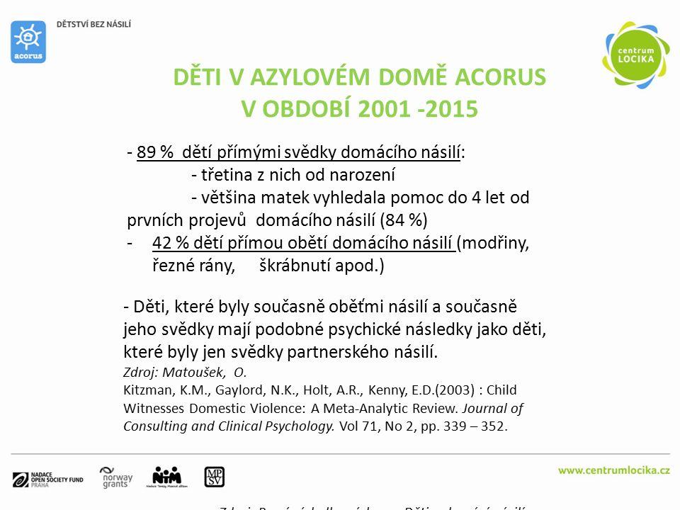SPECIÁLNÍ POTŘEBY DĚTÍ V AZYLOVÉM DOMĚ ACORUS Zdroj: První výsledky výzkumu Děti a domácí násilí PhDr.