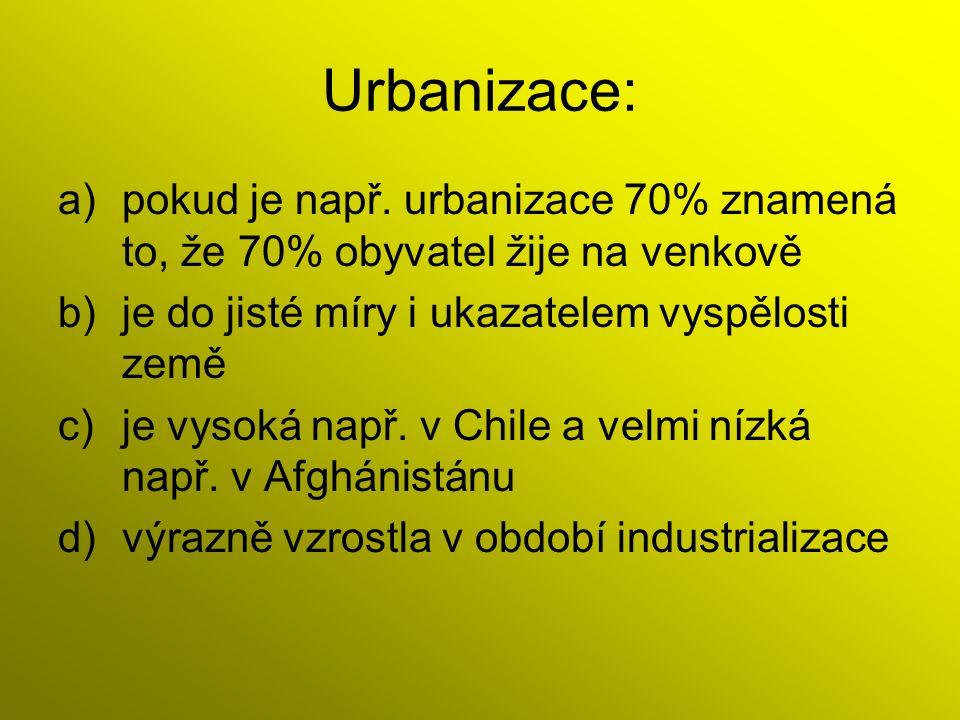 Urbanizace: a)pokud je např.