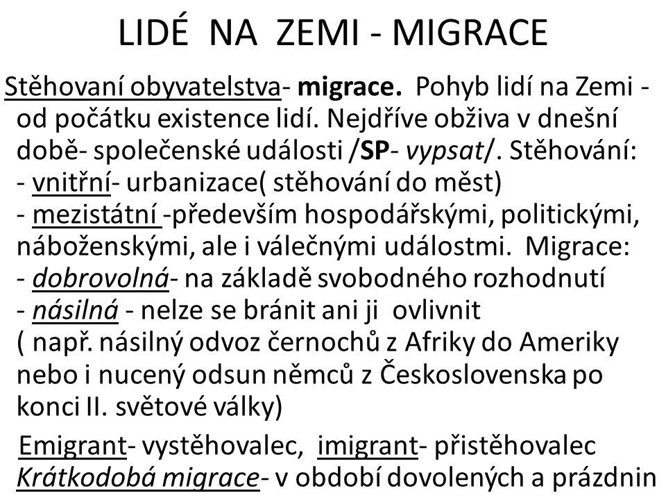 LIDÉ NA ZEMI - MIGRACE Stěhovaní obyvatelstva- migrace.