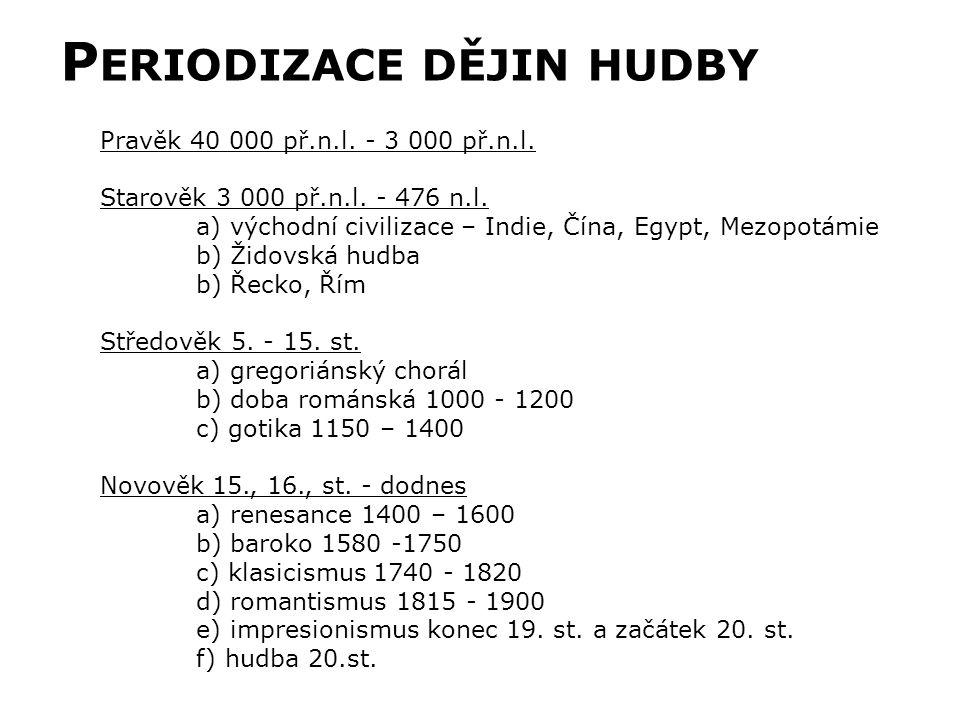 P ERIODIZACE DĚJIN HUDBY Pravěk 40 000 př.n.l. - 3 000 př.n.l.