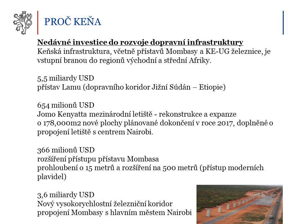 PROČ KEŇA Nedávné investice do rozvoje dopravní infrastruktury Keňská infrastruktura, včetně přístavů Mombasy a KE-UG železnice, je vstupní branou do regionů východní a střední Afriky.
