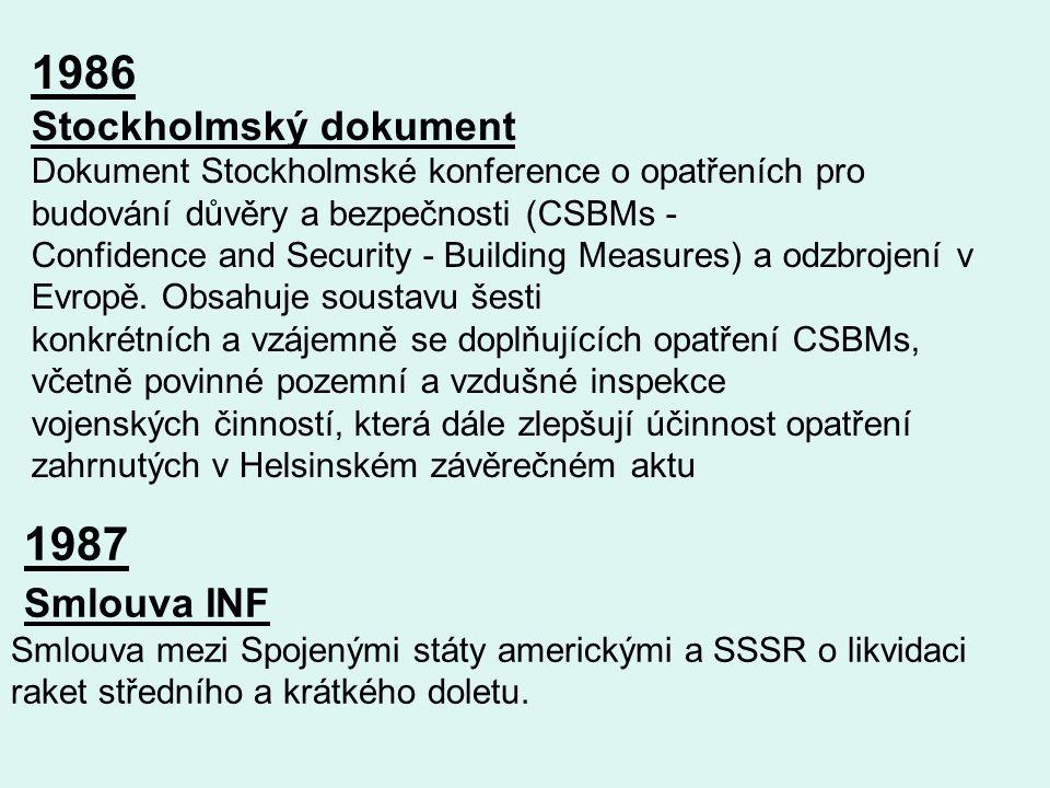 1986 Stockholmský dokument Dokument Stockholmské konference o opatřeních pro budování důvěry a bezpečnosti (CSBMs - Confidence and Security - Building Measures) a odzbrojení v Evropě.