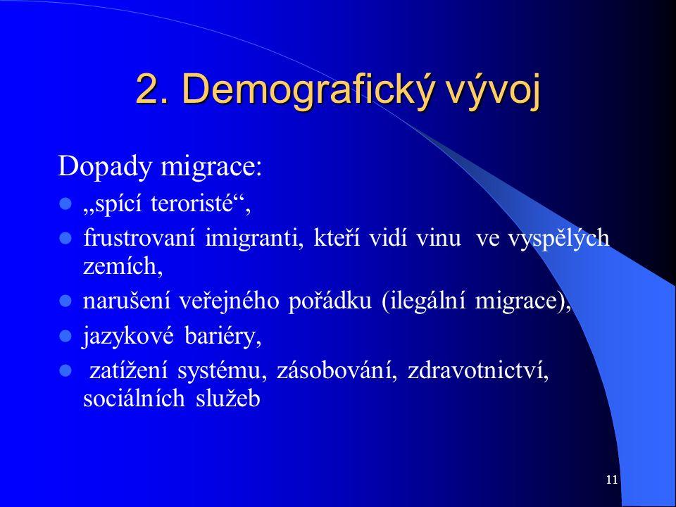 """2. Demografický vývoj Dopady migrace: """"spící teroristé"""", frustrovaní imigranti, kteří vidí vinu ve vyspělých zemích, narušení veřejného pořádku (ilegá"""