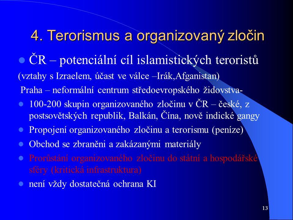 13 4. Terorismus a organizovaný zločin ČR – potenciální cíl islamistických teroristů (vztahy s Izraelem, účast ve válce –Irák,Afganistan) Praha – nefo