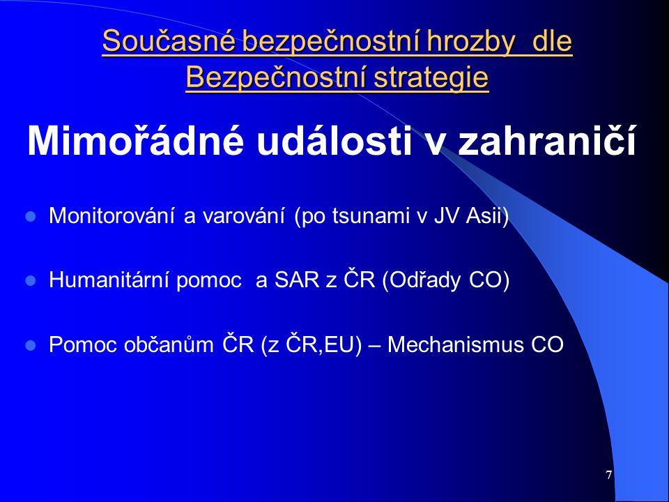 8 Bezpečnostní hrozby v ČR z hlediska ochrany obyvatelstva Ochrana obyvatelstva 2.demografický vývoj 1.životní prostředí 3.
