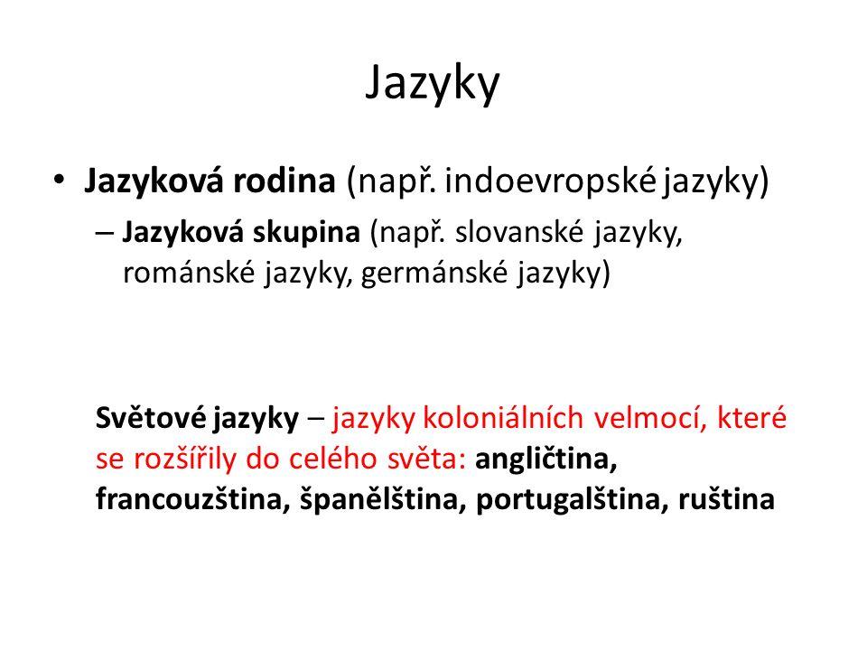 Jazyky Jazyková rodina (např. indoevropské jazyky) – Jazyková skupina (např. slovanské jazyky, románské jazyky, germánské jazyky) Světové jazyky – jaz