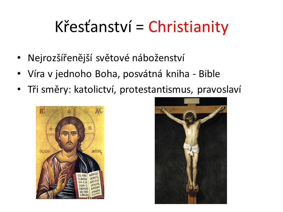 Křesťanství = Christianity Nejrozšířenější světové náboženství Víra v jednoho Boha, posvátná kniha - Bible Tři směry: katolictví, protestantismus, pravoslaví