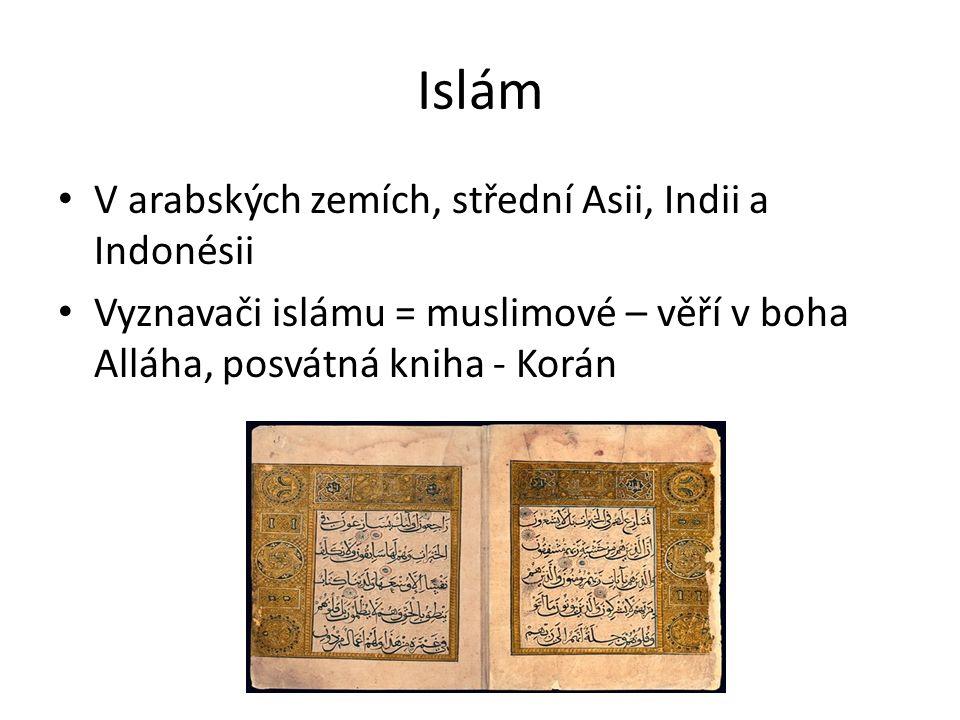 Islám V arabských zemích, střední Asii, Indii a Indonésii Vyznavači islámu = muslimové – věří v boha Alláha, posvátná kniha - Korán