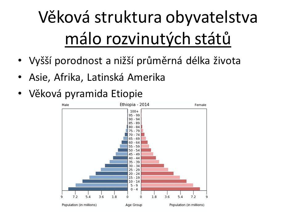 Věková struktura obyvatelstva málo rozvinutých států Vyšší porodnost a nižší průměrná délka života Asie, Afrika, Latinská Amerika Věková pyramida Etiopie