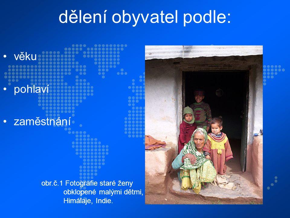 dělení obyvatel podle: věku pohlaví zaměstnání obr.č.1 Fotografie staré ženy obklopené malými dětmi, Himálaje, Indie.